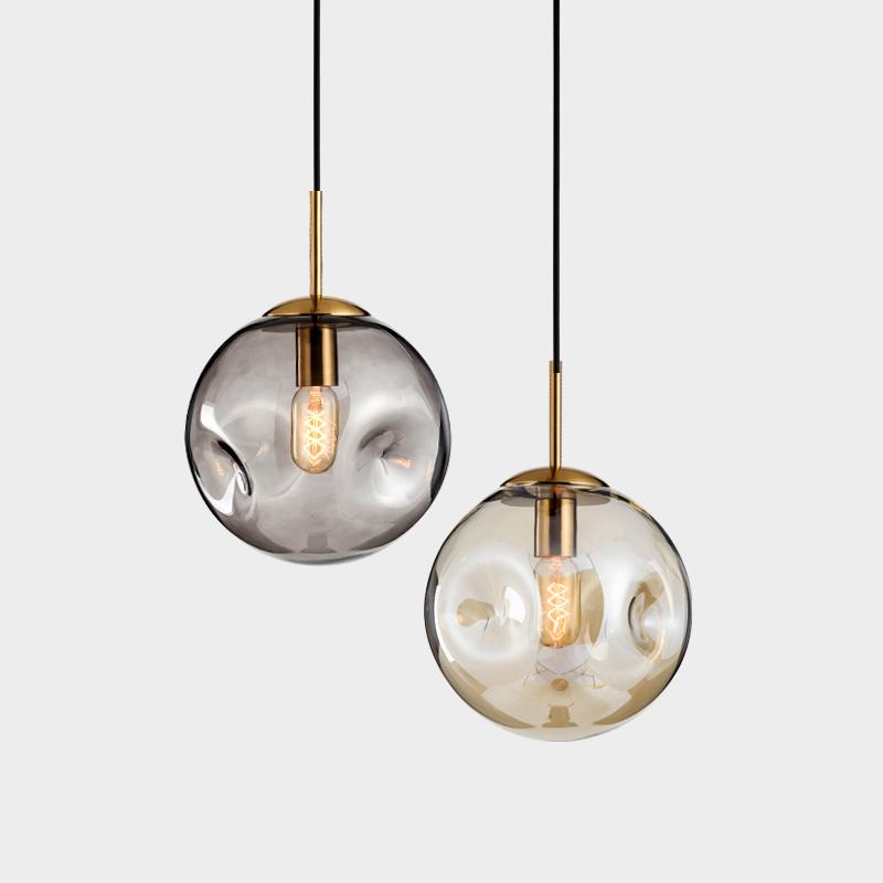 Aminta Dimpled Glass Shade Brass, Brass Pendant Lamp